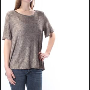 One Clothing gold metallic short sleeves tunic top
